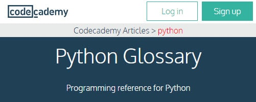 codeacademy glossary page for python