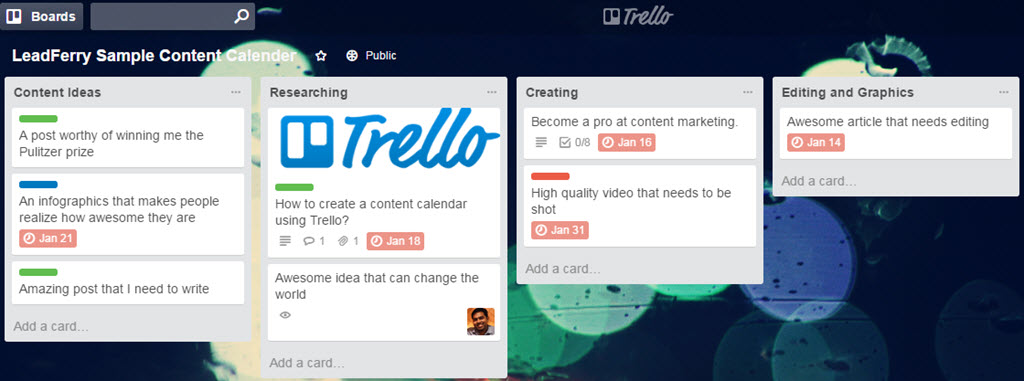 Trello as an editorial calender
