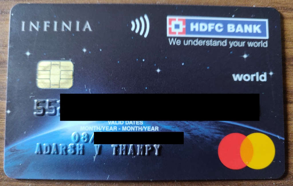 Infinia credit card from hdfc bank