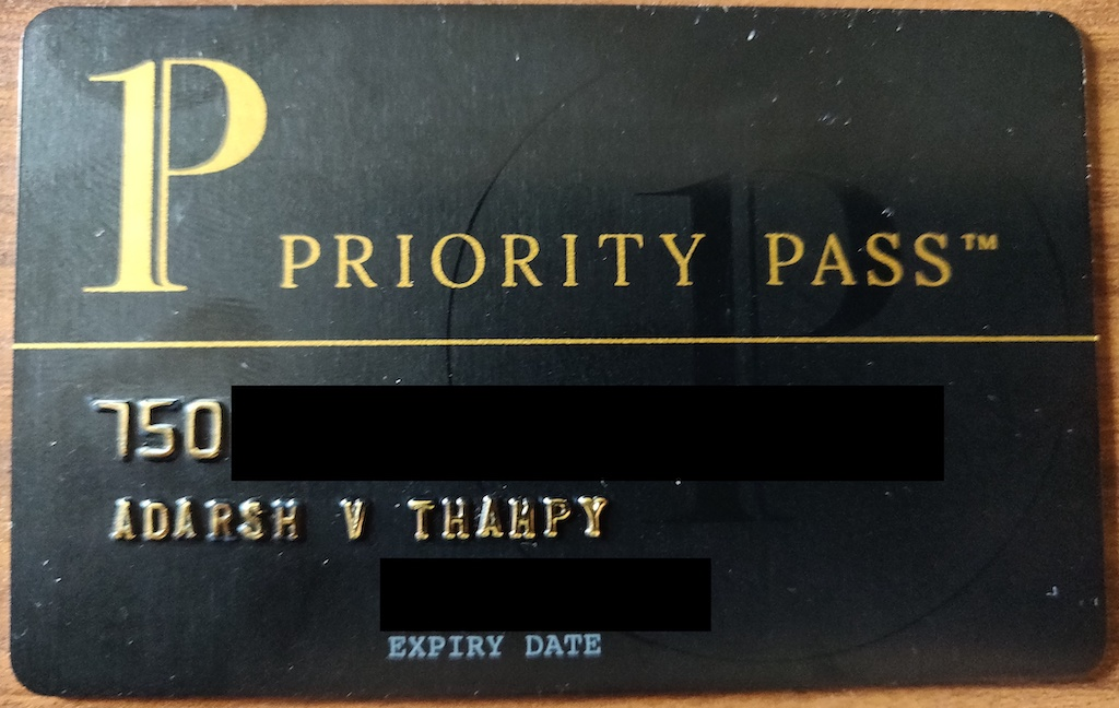 The priority pass card that you get