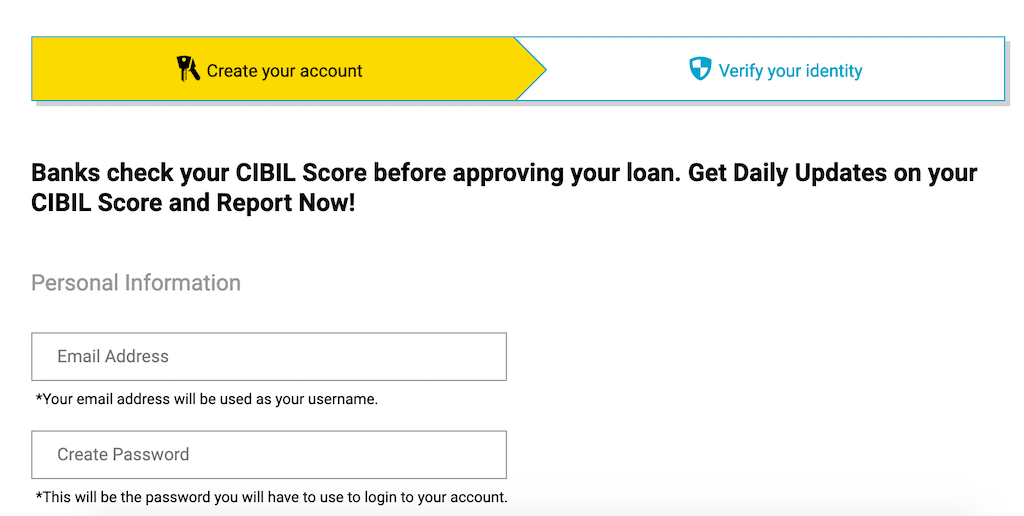 Create account on the cibil website