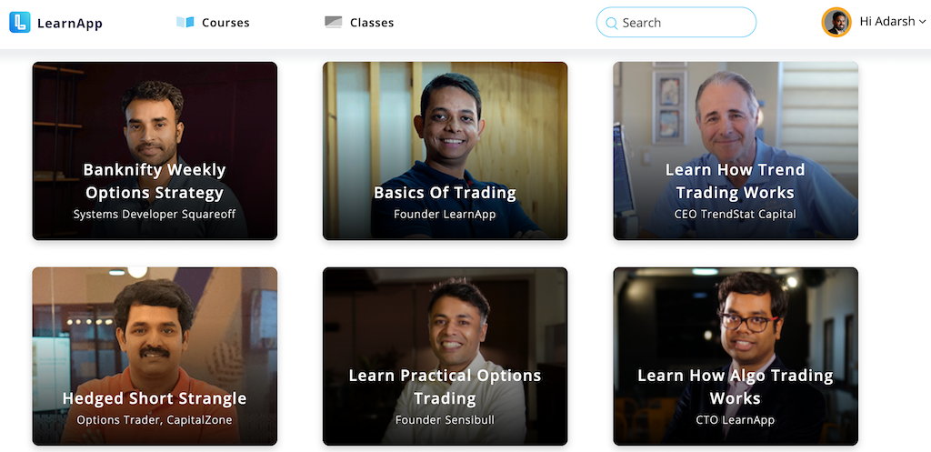 Learn app courses on trading