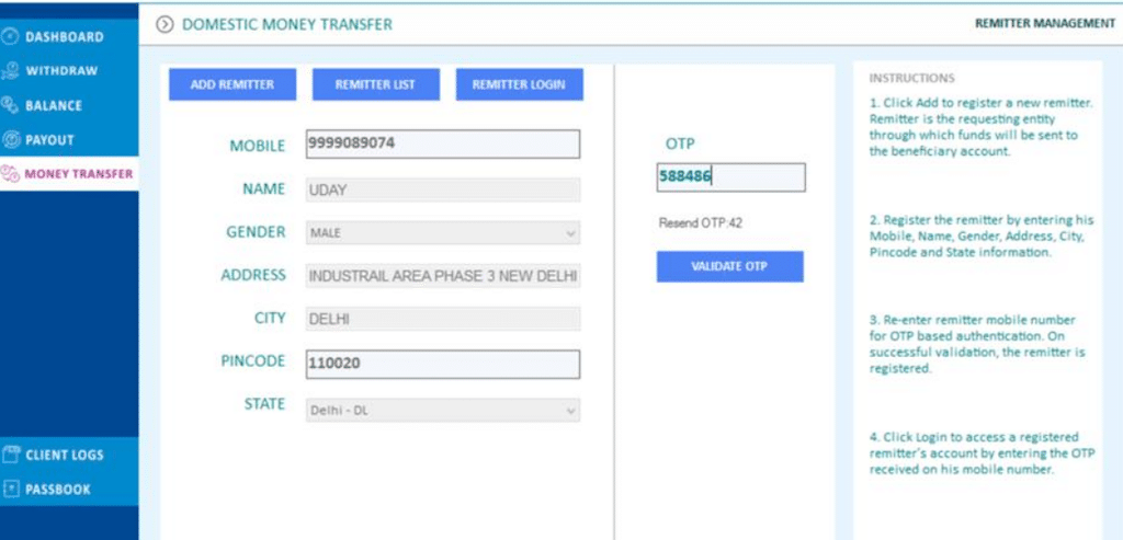 Domestic money transfer using digipay