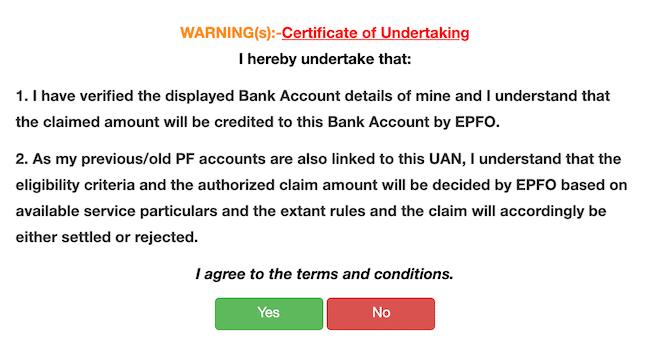 Certificate of Undertaking