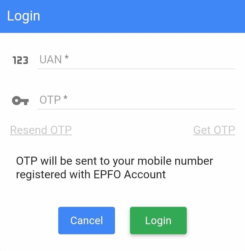 UMANG login using UAN and OTP