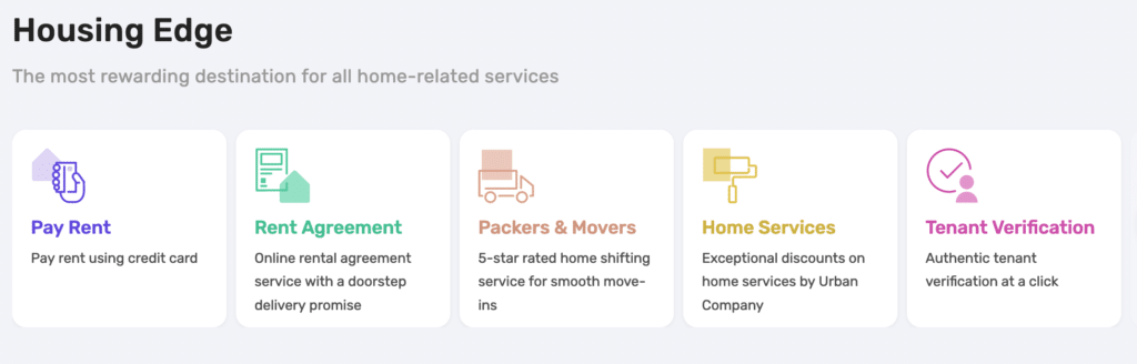 housing.com services to pay rent and others